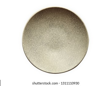 Modern oriental ceramic plate in cracked pattern, Empty ivory plates, View from above isolated on white background with clipping path