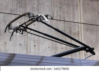 modern pantograph on a train