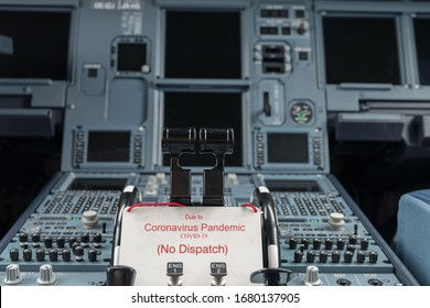 Modern Passenger Airplane Cockpit with warning sign that the aircraft  is not allowed for dispatch due to Coronavirus (covid19) in 2020.  All passenger flights are suspended for unknown time