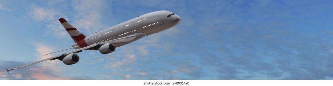 Modern Passenger airplane in flight