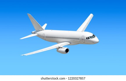 modern passenger business jet airplane flying against blue sky aerial panoramic air travel transportation landscape background aircraft isolated silhouette side design reference top down view
