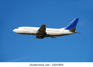 Modern passenger jet airplane  in mid flight