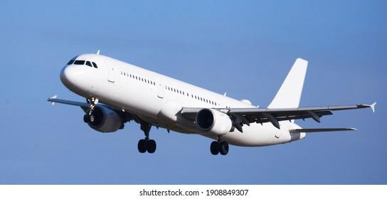 modern passenger plane lands at airport