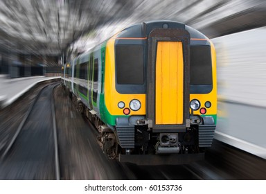 Modern Passenger Speed Commuter Transport Train in the Station with Motion Radial Zoom Blur