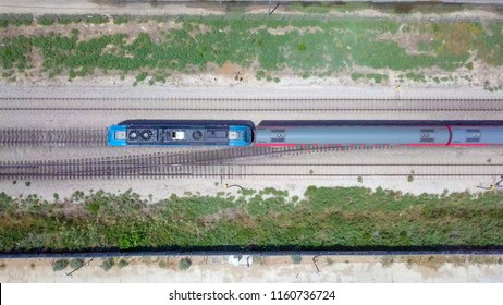 Modern passenger train - Top down aerial view
