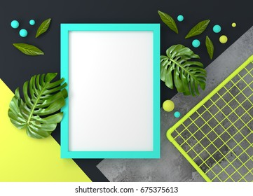 Modern Pastel coloured mock up photo frame for designs. 3D illustration render.