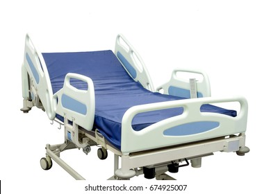 Modern patient bed can be used both in hospital and home, isolated on white background