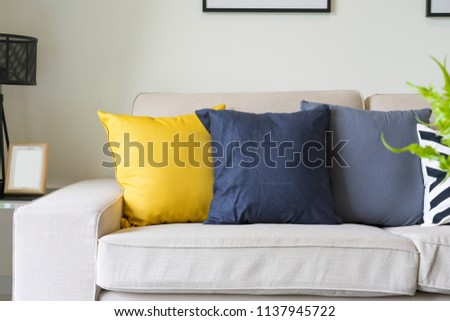 Modern Pattern Blue Yellow Cushion On Stock Photo Edit Now