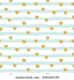 Modern pattern with glitter confetti hearts on striped background. Golden and pastel blue trendy colors. For birthday, fashion and wedding design. Raster copy.