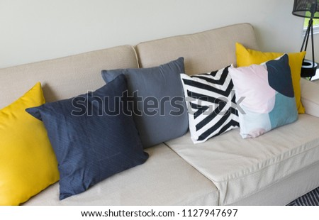 Modern Pattern Yellow Cushion On Grey Stock Photo Edit Now