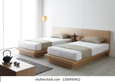 Modern peaceful Bedroom. zen style bedroom. Peaceful and serene bedroom. Wood bed with oriental object. japanese style bedroom.Deep sleep. meditation. Healing. twin bed.