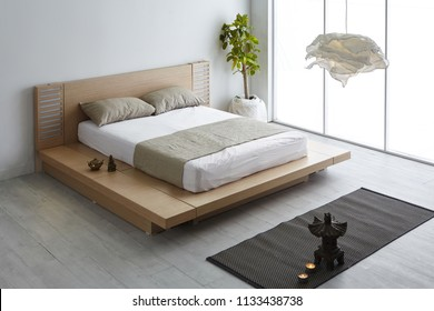 Modern peaceful Bedroom. zen style bedroom. Peaceful and serene bedroom. Wood bed with oriental object.led bed. japanese style bedroom.