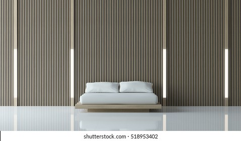 Modern peaceful Bedroom/Modern  Bedroom  minimalist style white floor decorate wall with wood lattice,basic Simple  bright and clean