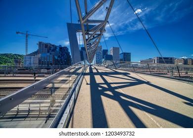 Modern pedestrian crossing bridge in Oslo - Norway