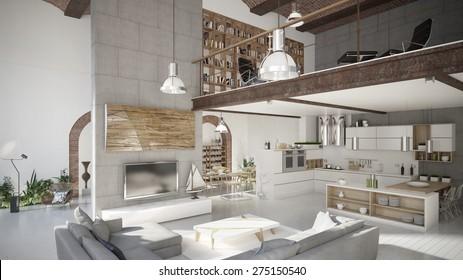 Modern penthouse apartment (3 d render using 3 d s Max)