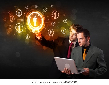 Modern people touching future technology social network button