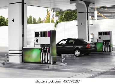 Modern petrol station beside the road