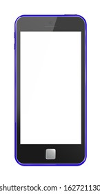 Modern phone blue case  isolation white background