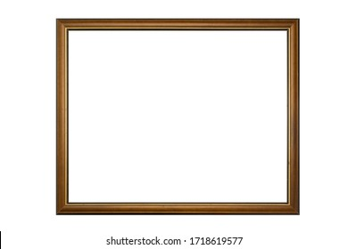 modern photo frame with golden border isolated on white background.
