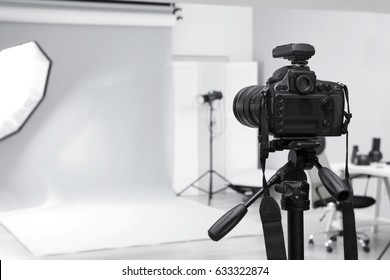 Modern photo studio with professional equipment