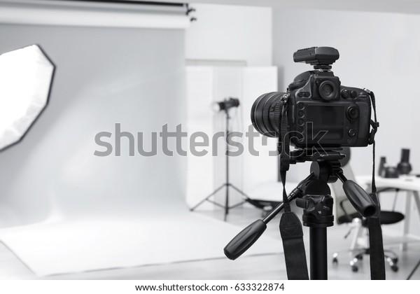 Modern photo studio with professional equipment