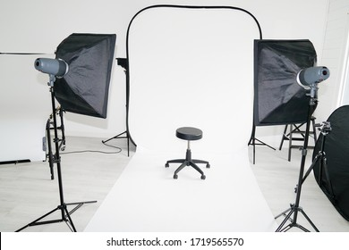 modern photo studio setup for model picture with professional equipment