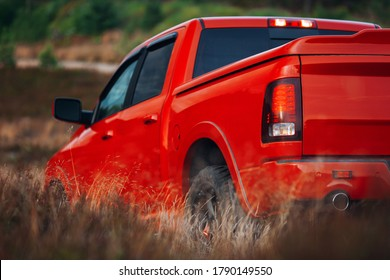 Modern pickup at the middle of desert. Car at the offroad