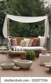 modern picture of verandah with modern garden furniture