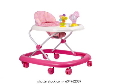 Modern pink baby walker with toys isolated on white