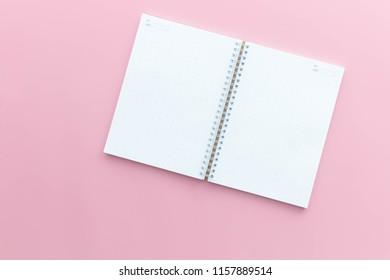 modern pink desk  office notebook flay lay