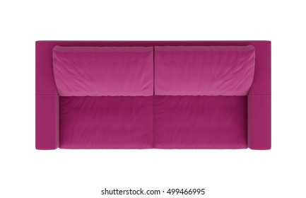 Modern pink fabric sofa furniture isolated on white background. top view. clipping part.