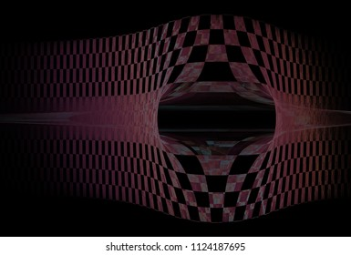 Modern pink, grey and teal abstract checkered strip / hole design (3D illustration, black background)