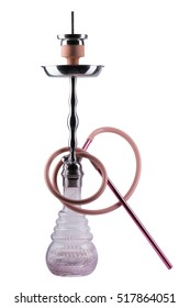 Modern pink hookah isolated on white background. Eastern smokable water pipe smoking on white background. Pink hookah with black rubber tube and green flask isolated on white background.