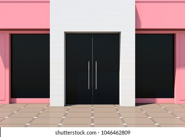 Modern pink luxury store facade 3D render