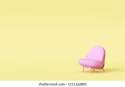 modern pink sofa in yellow living room. Minimal style concept. pastel color style.