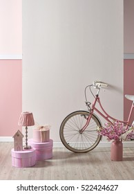 modern pink white wall and decorative interior design for home and children room, designs for bedroom