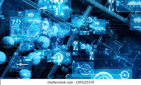 Modern plant and communication network concept. IoT (Internet of Things). INDUSTRY 4.0