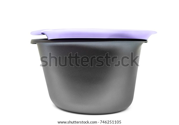 Modern plastic food container isolated on white