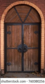Modern Plausible Simulation of the ancient oak door of the castle or building