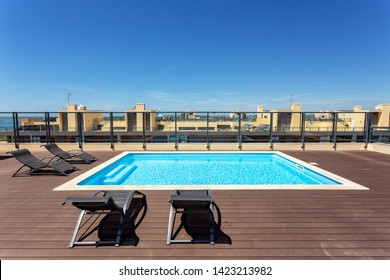 Modern pool for tourists on the roof of the building.