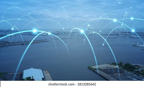 Modern port and ships aerial view and communication network concept. Ship radio. 5G. IoT. *Video version available in my portfolio. - Shutterstock ID 1813285642
