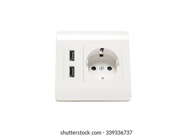 Modern power socket, with two usb charger ports.