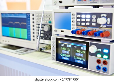 Modern power supply, spectrum analyzer devices in exhibition