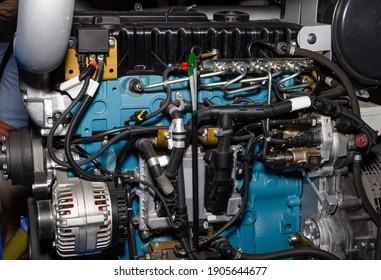 Modern powerful semi  truck turbo diesel engine closeup.