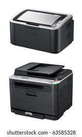 Modern printers on the white background