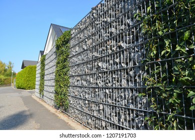 Modern Privacy Fence of Natural Rock Gabions and greened galvanized Steel Grid surrounding a residential Building (Germany)