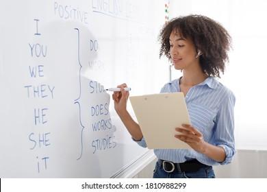 Modern profession is online teacher. Friendly african american girl in wireless headphones writes on blackboard english rules, copy space