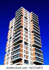 Modern public council housing apartments skyscraper tower block in London, England, UK