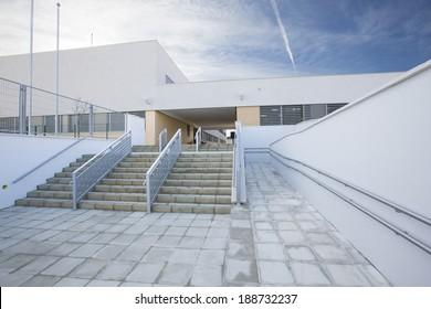Modern public school, exterior
