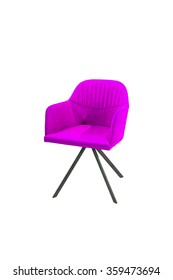 modern purple chair isolated on white background